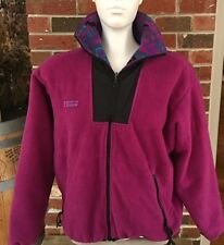 Vtg Columbia Womens M Full Zip Purple Southwestern Aztec Fleece Jacket Coat EUC