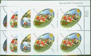 Tonga 2002 Rugby Sevens set of 4 SG1523-1526 V.F MNH Corner Blocks