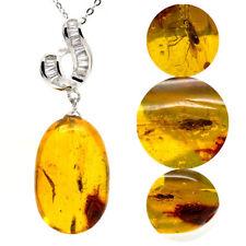 Ciondolo pendente ambra naturale baltica con insetto e argento 925 (con catena)