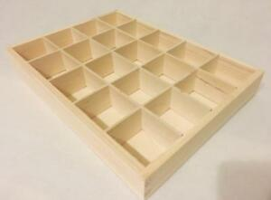1 x Plain Wooden Tray 20 Compartments Shelf Caddy Storage Tray Unit  Box 20-BW
