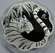 Canada 2010 15 Dollars Lunar Year of the Tiger Lotus Scalloped Proof Silver