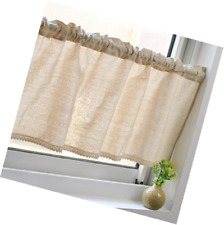 Unimall Cotton Linen Cafe Curtain Kitchen Curtain Valance Short Net Curtains