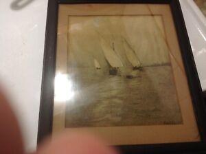 Original Antique Art '07 Faulds Drawing Charcoal Pith Paper Sailboats Oak Frame