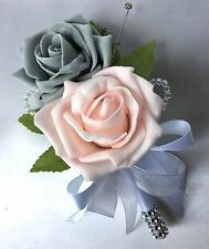 DOUBLE BUTTONHOLE, BABY PINK & GREY ROSES,  ARTIFICIAL WEDDING FLOWERS