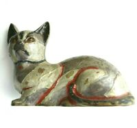 Vintage Brass Cat Paperweight Figurine Paper Weight 1 lb 9 oz Chipped Painted