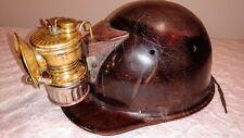 Antique 1914-16 Guy's Dropper Brass Carbide Lantern & Vintage Mine Safety Helmet