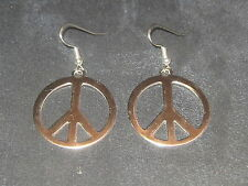 30MM STAINLESS STEEL SILVER PEACE SIGN DANGLE CHARM EARRINGS