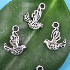 40pcs Tibetan silver 3d  bird Charms Pendants Beads 13MM