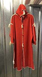 Womens Red White Embroidered Long Hooded Side Pockets Kaftan Dress Size X Large