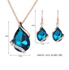 Women's Alloy Rhinestone Teardrop Pendant Chain Necklace Earrings Jewelry Set