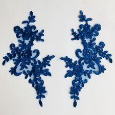Mirror pair blue corded lace floral applique motif stage tutu dance costume