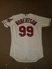 #99 Daniel Robertson Game Used Cleveland Indians Home Jersey Chief Wahoo Vaughn