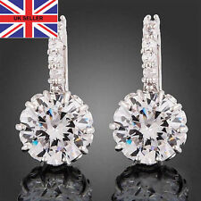 Leverback Crystal Round White Gold Filled Costume Earrings