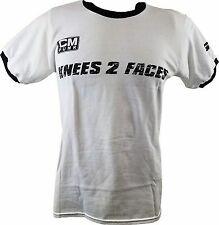 CM Punk Knees 2 Faces 25/8/365 White Ringer Mens T-shirt