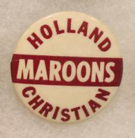 Holland Christian Vintage 1940s 1950s pin! Pinback! Football! RARE!