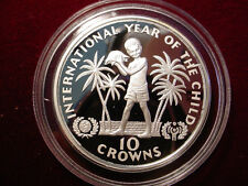 1982 Turks Caicos Large Silver Proof 10 cr-Year of the Child