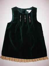 NWT Janie And Jack Ornate Opera Green Velour Jumper Christmas Dress 3 - 6 months