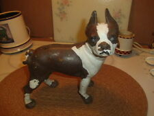 vintage cast iron bull dog brown and white