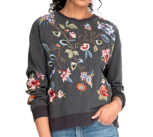 Johnny Was RENATA RAGLAN SWEATSHIRT Charcoal Gray, Embroidered, Large NWT $205