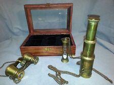Nautical Scope Box Set Brass Telescope, Binoculars, & Hourglass - Wood Box -New