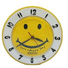 Vintage LUX Have A Happy Day Yellow Smiley Face Electric Wall Clock Robertshaw