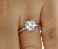 1.50 Ct 14K White Gold Heart Solitaire Engagement Wedding Propose Promise Ring