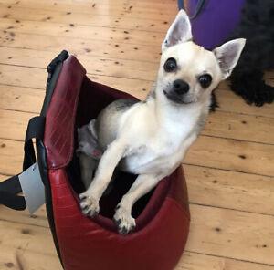 Dog Car Seat Carry Bag Red Leather Secured Shoulder Bag NEW NEVER USED