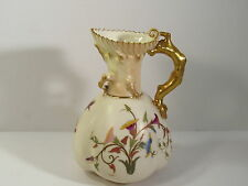 1890s ROYAL WORCESTER ENGLAND PORCELAIN HP FLORAL BOUQUETS #1507 PITCHER