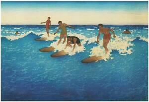 Hawaiian Surfers Vintage Surfing Art Canvas Giclee Print 32x24 in.