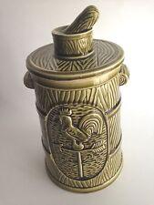 """Vintage Norcrest Ceramic Cookie Jar Canister Green Barrel Rooster 11"""" Tall Japan"""