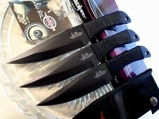 "Gil Hibben Black Large Triple Throwing Knife/Knives Dagger Set GH0947B 8 1/2"" OA"