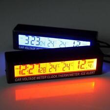 12V Coche Auto Digital LED Reloj Tiempo Termómetro voltios Medidor de Voltaje/en \ fuera C/F