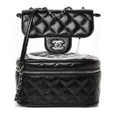 Chanel 18S Black Aquarium Calfskin PVC Quilted Large Silver Chain Shoulder Bag