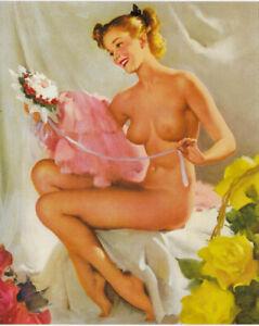 SALE Gil Elvgren MODERN VENUS NUDE Original Painting Pin-Up Roses Glamour Pinup