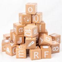 Natural Beech Wooden Alphabet Letter Number Building Blocks Kids Educational Toy