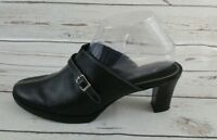 St. John's Bay Black Leather Mule Heel Slip On Shoes Women's Size 8m