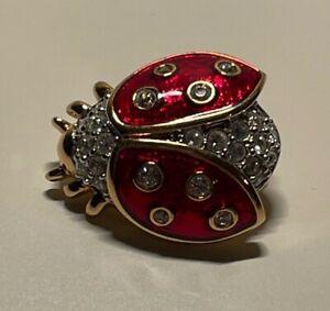Swarovski Red Enamel Gold Tone Crystal Lady Bug Brooch Pin