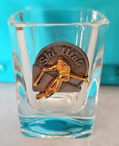 Vintage square pewter shot glass ski Utah 🎿