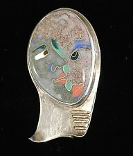Modernist Enamel Cloisonné Silver Abstract Brooch Signed Handcrafted Artisan