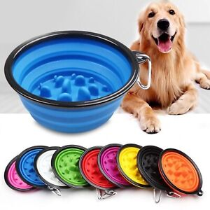 Slow Feeding Silicone Collapsing Travel Camping Outdoors Portable Dog Food Bowl