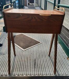 Vintage Mid Century Wooden Sewing Box Table 1960's Workbox. Needs Refurbishment.