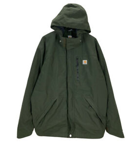 Carhartt J162 Shoreline Rain Defender Green Hooded Jacket XL Long