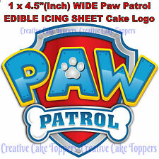 NONE PERSONALISED PAW PATROL LOGO BADGE EDIBLE ICING BIRTHDAY PARTY CAKE TOPPERS