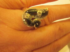 Sterling Silver Black Sapphire Ring 925 silver question mark style size 8