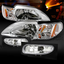 94-98 Ford Mustang Chrome 2In1 Crystal Headlights Corner Lamps+Clear Fog Lights