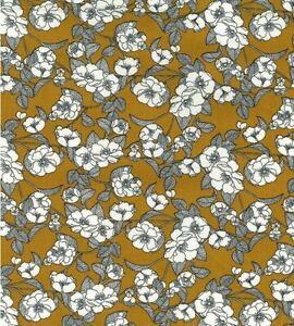 Ochre Floral Fabric Rose & Hubble 100% cotton fabric Metre or 1/2 Metre