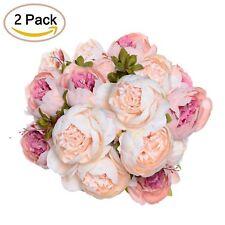 2 Pack Artificial Peony Wedding Flower Bush Bouquet - Artiflr Vintage Peony Silk