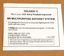 Rare US M9 Lan-Cay Multi Purpose Combat Knife System Orginal Instruction Sheet