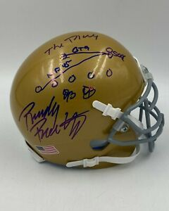"""Rudy Ruettiger Signed Inscribed """"The Play"""" Notre Dame Mini Helmet HOLO Only #13"""
