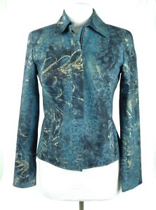 NWOT Doncaster Sport Size 4 Teal Green Gold Metallic Blazer Jacket Zip Up Fitted